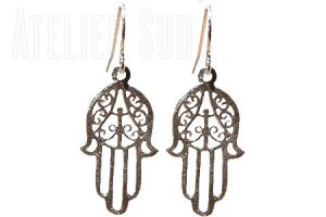 Sterling zilveren oorbellen, de handjes van Fatima