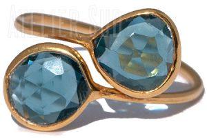 Goud op Sterling zilveren verstelbare ring met 2 London Blue Topaz edelstenen