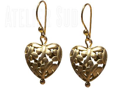 Handgemaakte 18 karaats goud op Indiaas zilveren oorbellen .