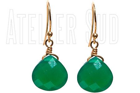 Handgemaakte 18 karaats goud op Sterling zilveren oorbellen met facet geslepen Groene Onyx halfedelstenen