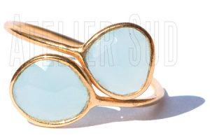 Handgemaakte goud op sterling zilveren ring met twee onregelmatig gevormde aqua Chalcedoon facet geslepen edelstenen