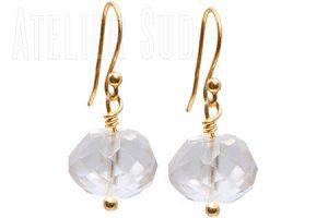 Goud op zilveren oorbellen Noddy Bergkristal Noddy