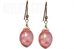 Handgemaakte goud op Sterling zilveren oorbellen met Cherry Kwarts edelstenen