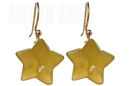 Handgemaakte goud op Sterling zilveren oorstekers met stervormige Koreaanse Jade edelstenen