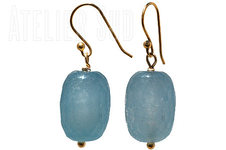 Handgemaakte goud op Sterling zilveren oorbellen met grote blauwe chalcedoon edelstenen