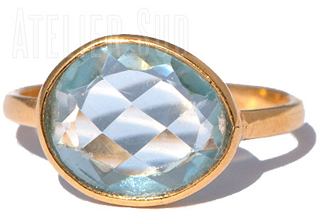Handgemaakte goud op Sterling zilveren ring met een facet geslepen Aquamarijn edelsteen