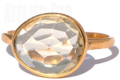 Handgemaakte goud op Sterling zilveren ring met een facet geslepen Citroen Kwarts edelsteen. De ring is gevormd rond de steen. Dat maakt elke ring uniek.