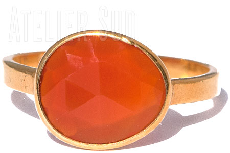 Amorfo Oranje Carneool Ring