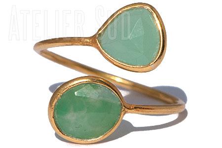 Goud op Sterling zilveren verstelbare ring met 2 Aqua Chalcedoon edelstenen.