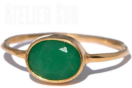 Ovala Groene Onyx Ring