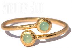 Dobbel Aqua Chalcedoon Ring