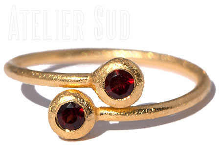 Dobbel Granaat Ring