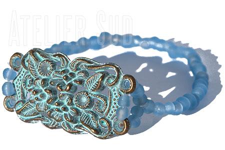 Handgemaakte armband Beril Blauw