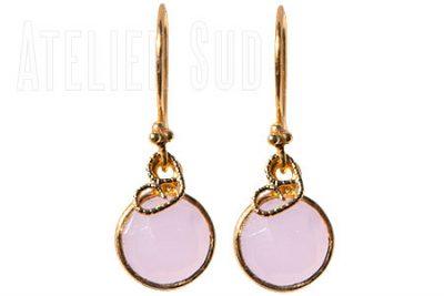 Redor Pink Chalcedoon, handgemaakte oorbellen met echte edelstenen