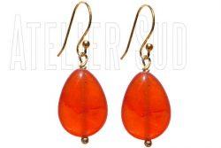 Handgemaakte goud op Sterling zilveren oorbellen met cabochon geslepen peervormige Oranje Carneool edelstenen