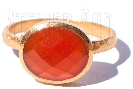 Handgemaakte goud op geborsteld Sterling zilveren ring met een facet geslepen Oranje Carneool edelsteen