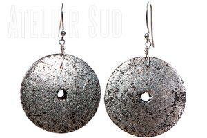Bladzilver op houten oorbellen met Sterling zilveren oorstekers